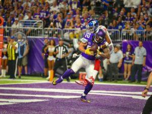 Kyle Rudolph catches a TD pass vs. NY Giants (photo courtesy of Minnesota  Vikings) 7b71d6967
